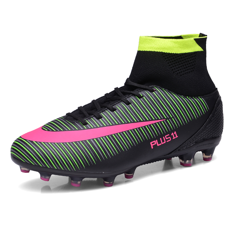 Plus Size 39-46 Mens Outdoor Football Shoes High Ankle Soccer Boots With Socks Zapatillas Futbol Sala Hombres S147(China (Mainland))