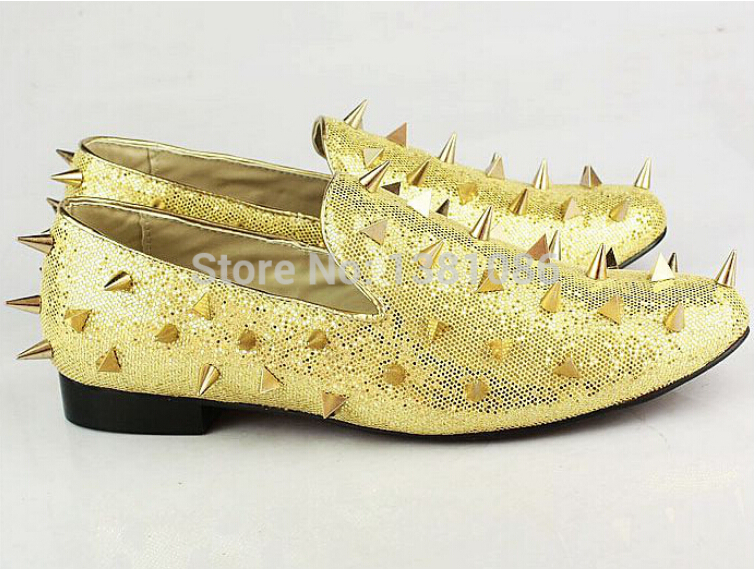 christian louboutin shoes cheap replica - Luxury High Quality Men Gold Studded Loafer Designer Spike Leather ...