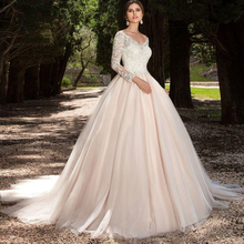GF66 Vestido de noiva Cheap Princess Lace Ball Gown Wedding Dress 2017 Vestidos de novia Long Sleeves Appliques Wedding Gowns(China (Mainland))