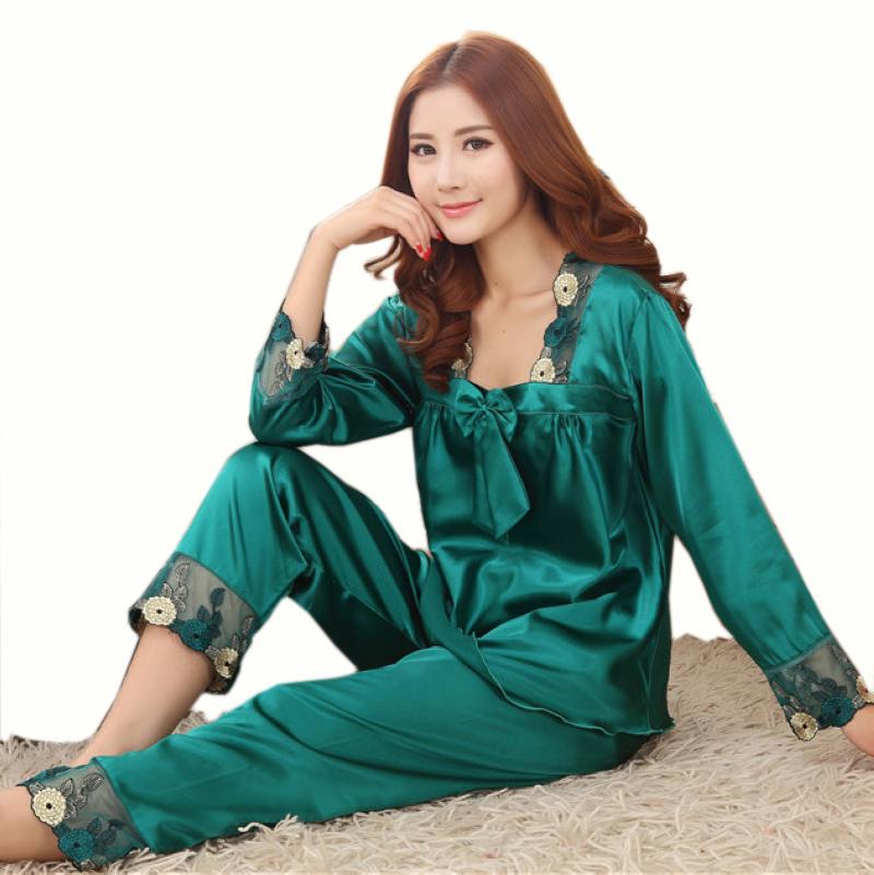 New Style Women Silk Pajamas Sets 2015 Spring Summer Design Elegant Lace Embroidered Female Satin Pajamas,Red,Green,Dark Pink(China (Mainland))