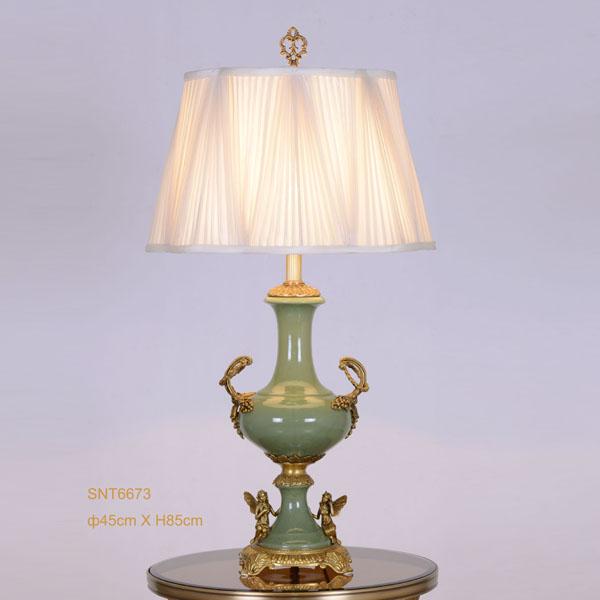 Jade groen porselein en golden koperen vaas vorm tafellamp, Milieuvriendelijk klassieke huwelijkscadeau(China (Mainland))