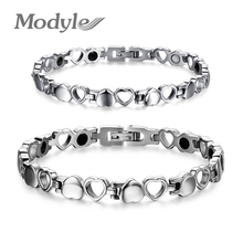 Healthy Care Magnetic Bracelets Bangles  Stainless Steel Heart Female Energy Fashion Bracelet for women and men(China (Mainland))