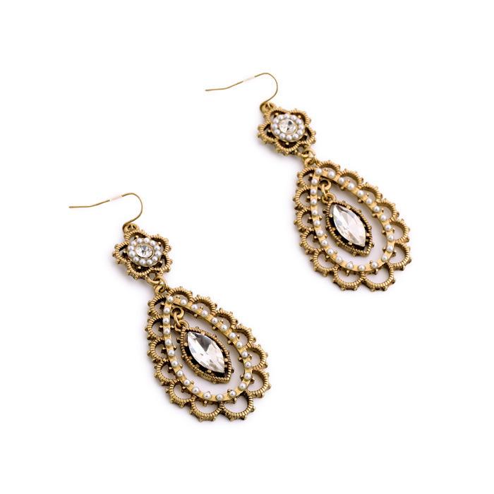 Buy Fashion Women Drop Earrings High Quality Jewelry Wholesale Pearl Crystal