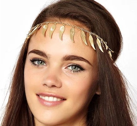 Angel wings feather tassel hair band metal texture of hair female 1050M(China (Mainland))