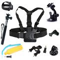 Go pro Accessories Set Pole Stick Head Chest Strap Monopod with Suction Cup Bracket for Gopro