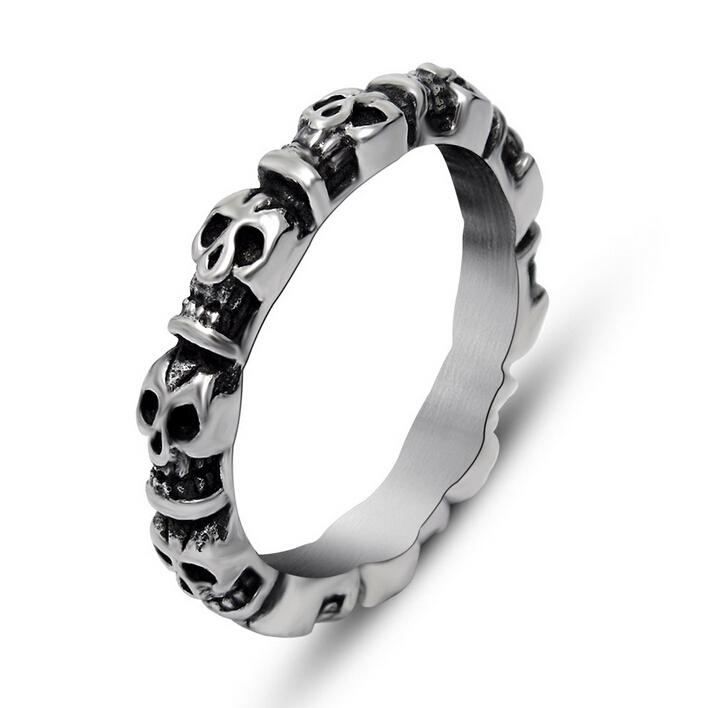 Stainless steel skull rings for men cool punk rock big size mens rings