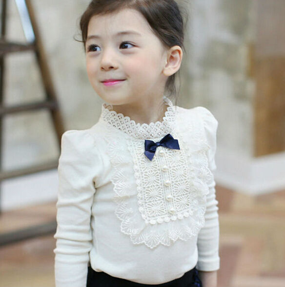 Fashion Korean Style Lace Collar Long Sleeve Autumn Cotton Girls T Shirt Children Bottoming Shirt Kids Tops White Pink Gray<br><br>Aliexpress