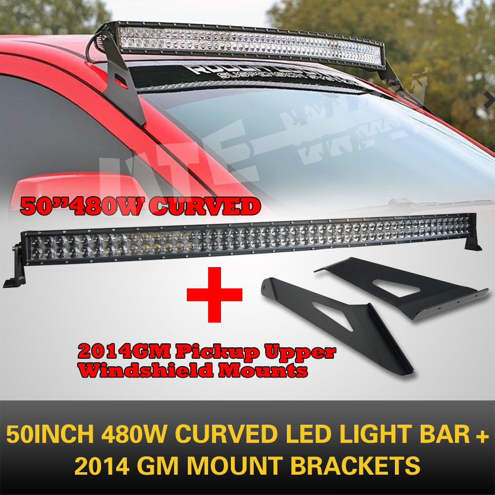 "50"" 480w curved led light bar combo beam+2014 1500 Pick Upper Windershield Mount(China (Mainland))"
