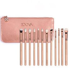 High Qquality Zoeva 12 Pieces Rose Golden Complete Eye Set Eyeshadow Eyeliner Blending Pencil Makeup Brushes With Case(China (Mainland))
