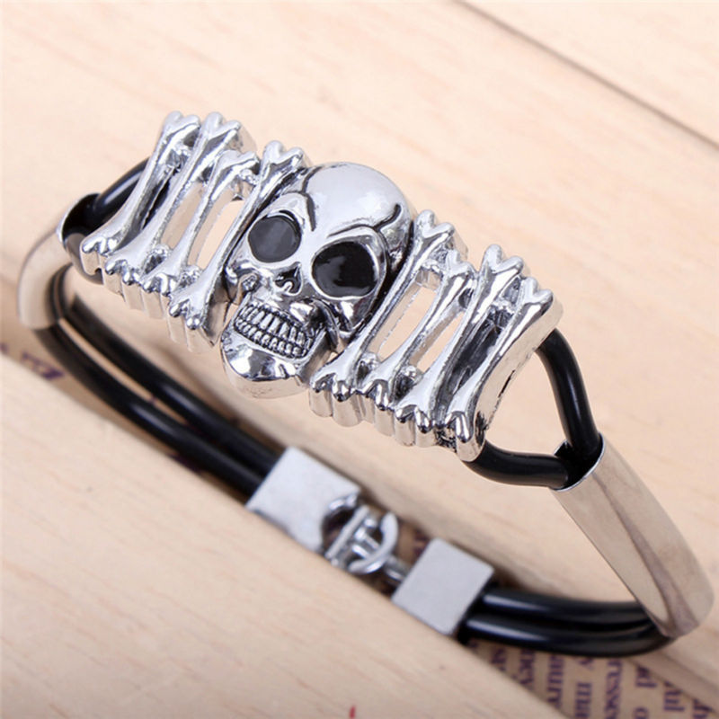 Fashion 2 layers of PU bracelet for men,skull Titanium steel punk bangles,men and women wristbands brand jewelry QN048<br><br>Aliexpress