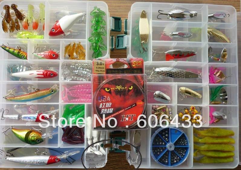 Здесь можно купить  fishing Lure soft Spoon Mimmow Popper Pencil Frog Jig Head Bait Hook Tackle + Box wholesale se  Спорт и развлечения