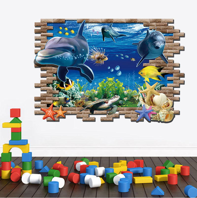 Creative 3D Stereoscopic Finding Nemo Wall Stickers Underwater World Decoration Child's Paradise Personalized Fashion(China (Mainland))