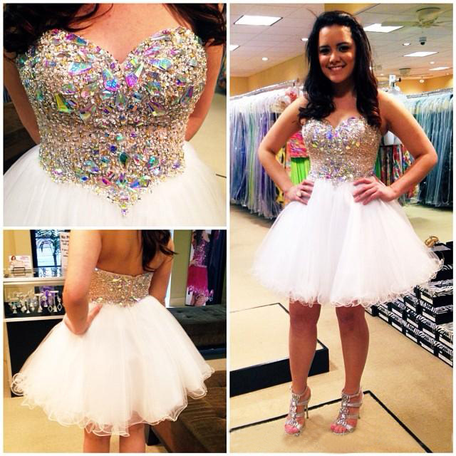Short Cocktail prom gown 2016 Sweetheart Sleeveless Crystal Beaded Mini homecoming dress Formal party - New York Brides store