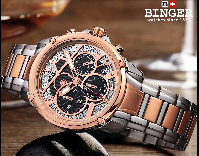 Оригинал Бингер Кварц Платье часы Мужчины часы армия часы золото Простой Стиль Водостойкой Наручные Часы Искусственного Кожаный Ремешок смотреть