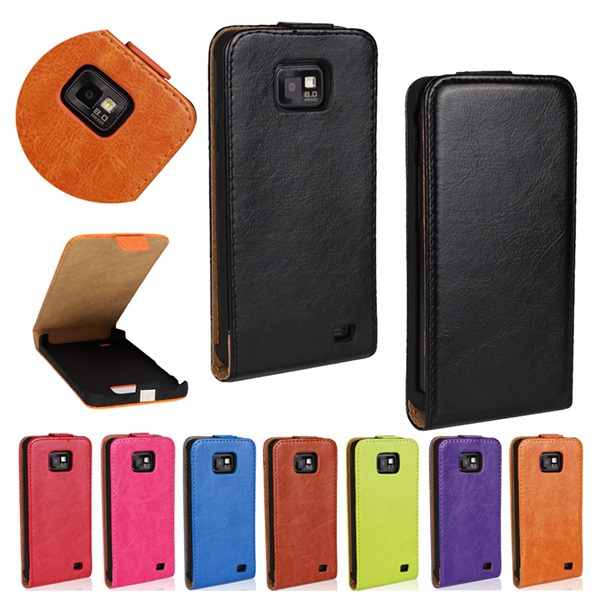 Vertical Type Crazy Horse PU Imitation Leather Case With Plastic Holder Flip Cover For Samsung Galaxy S2 i9100 SII Phone Case(China (Mainland))