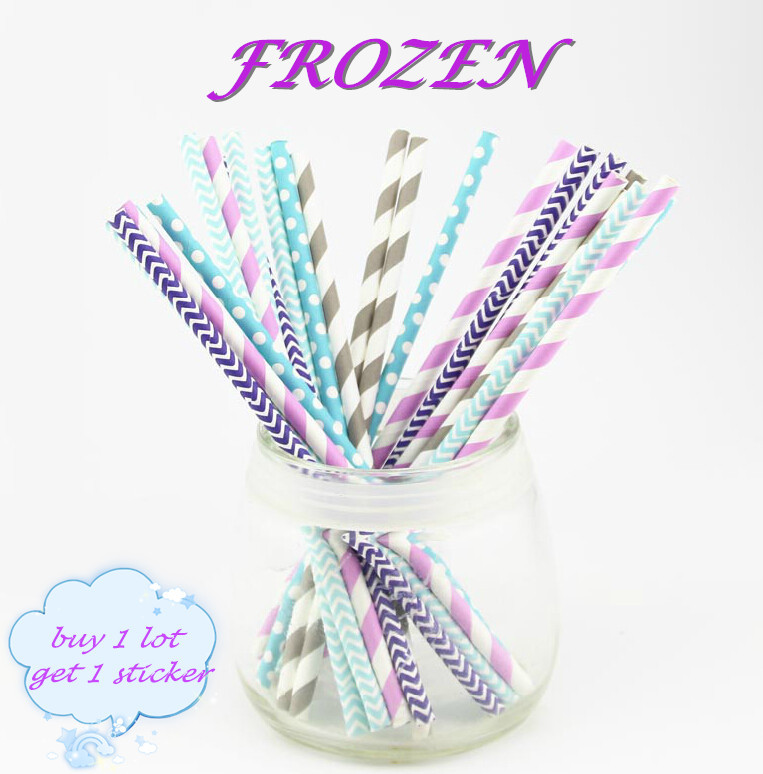 25pcs/lot Mix 5 Designs Frozen Series Paper Drinking Straws for Wedding Party Birthday Decoration(China (Mainland))