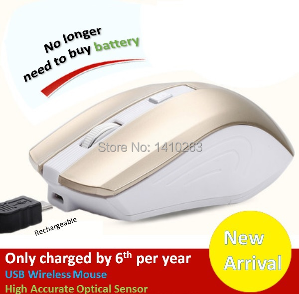 Fashion Design High Accuracy Rechargeable Wireless Optical Mouse 1600 DPI,Work Time 50 Days With Once Charging,Free shipping(China (Mainland))