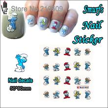 1 Folha De Unhas Autocolante BLE1603 Espírito Azul Dos Desenhos Animados Nail Art Transferência de Água Etiqueta Decal Sticker Para Nail Art Decoração