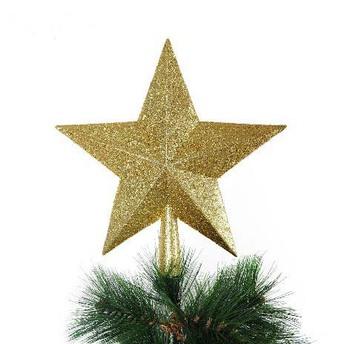 Christmas decoration scrub powder  tree gold  top star five-pointed star christmas tree decor  free shipping