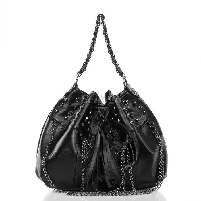 Fashion Style Womens Punk Chain Tassels Skull Rivet Studded Tote Handbag Shoulder Bucket Bag(China (Mainland))