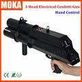 1 Pcs lot hot 3 shot stage confetti machine aluminum electric confetti dj gun trigger control