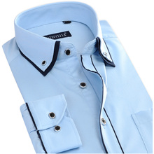 New Autumn Mens Dress Shirts Social Long Sleeve Double Collar Button-Up Patchwork Non-iron Slim Fit Men Casual Business Shirts(China (Mainland))