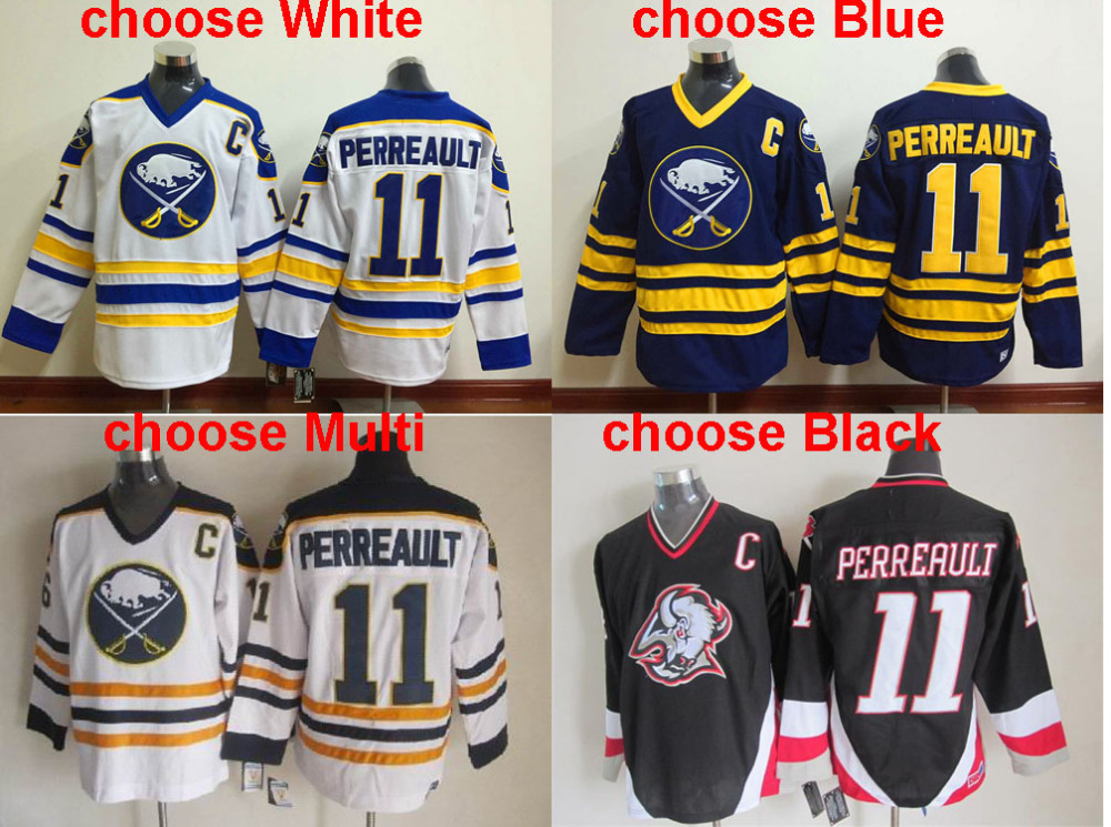Men's Buffalo Sabres #11 Gilbert Perreault Jersey Throwback Vintage Hockey Jerseys,White Navy Blue Black Stitched,Top Quality(China (Mainland))