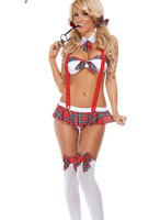 Sexy Women Student Uniform Lingerie Costume Cosplay Sleepwear White Red