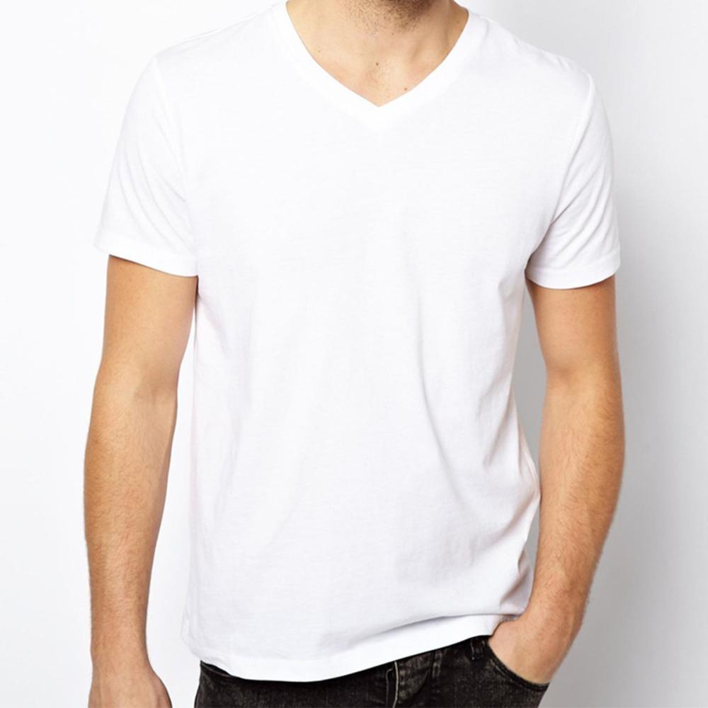 Free Shipping Solid T Shirts Men Blank T-Shirt V Neck Short Sleeve Man Tops Cotton Euro Size Mens Tees Shirt Wholesale(China (Mainland))