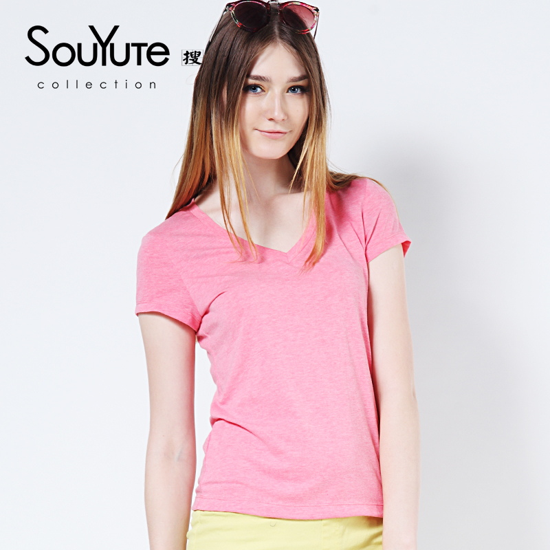 Souyute Women 39 S T Shirt Solid Color Girl 39 S V Neck Casual T