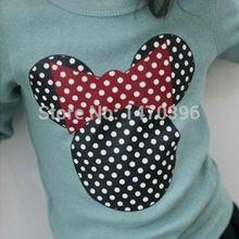 2015 New Kids Toddler Clothes Girls Polka Dot Long Sleeve Casual T Shirt Blouse Tops