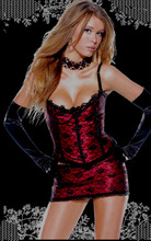 Sales! Fashion Women Cheap Corset Dress Outfit Set Sexy Strap Short Bustier Skirt Set Out Wear Corselet Top and Mini Skirt