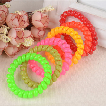 10Pc/Lot Telephone Line Rubber Hair Band