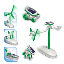 2016 New Arrival 6-in-1 Educational Solar Kit Toy Boat Fan Car Robot Power Moving Dog tRToys DIY Assembling Educational Toy(China (Mainland))