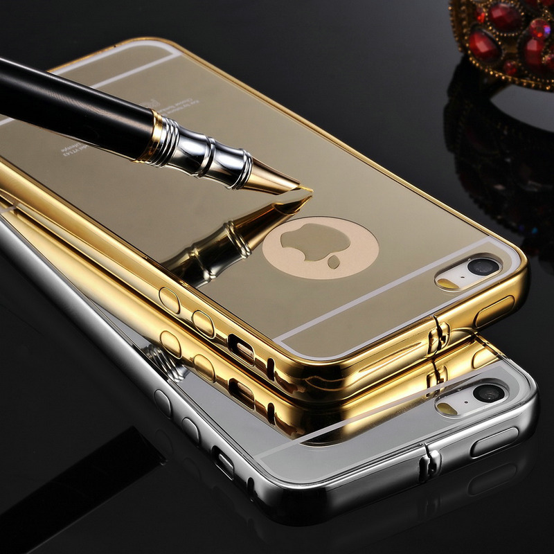 Tomkas Ultra Slim Mirror Case For iPhone 5 Mobile Phone Luxury Aluminum Acrylic Back Cover For iPhone 5S Hot Sale(China (Mainland))