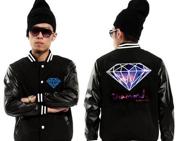 DIAMOND supply co jackets men purple logo in back Homens jaqueta hip hop coats male outdoor wear sports crew neck clothing(China (Mainland))