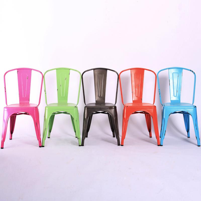 Fran ais fer industrielle de meubles en bois r tro style - Chaise en fer industriel ...