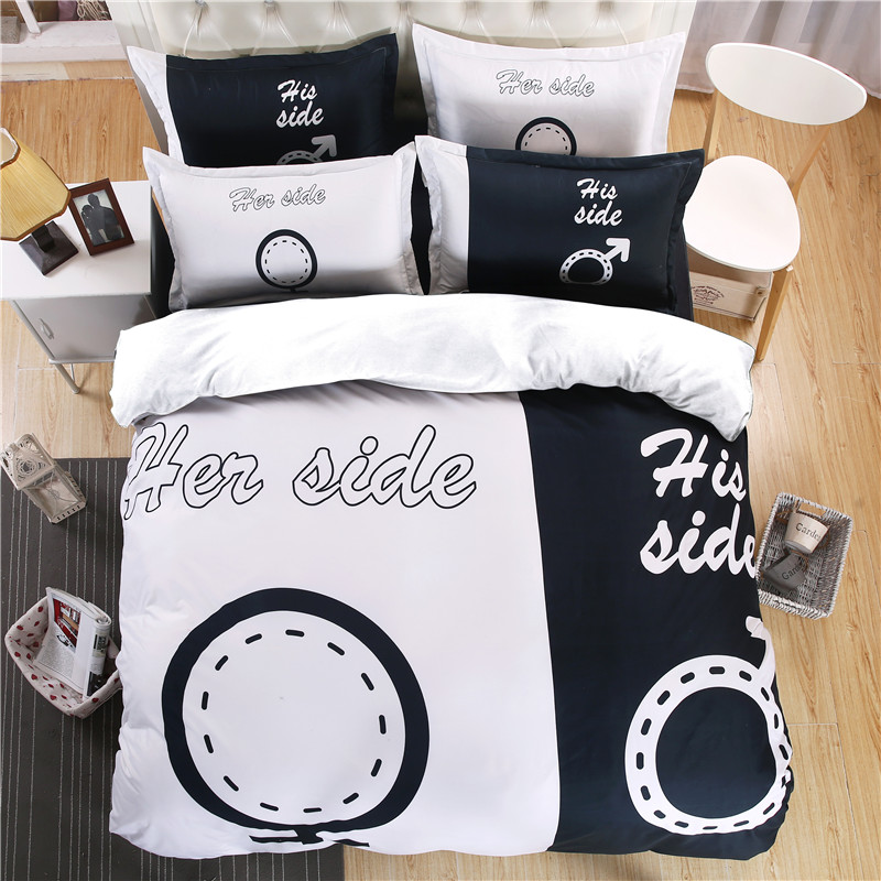 Black and white bedding sets lovers 3D bed linens Her&His duvet cover set 4pcs/set Cupid's Arrow Bedclothes lovers 3d bed set(China (Mainland))