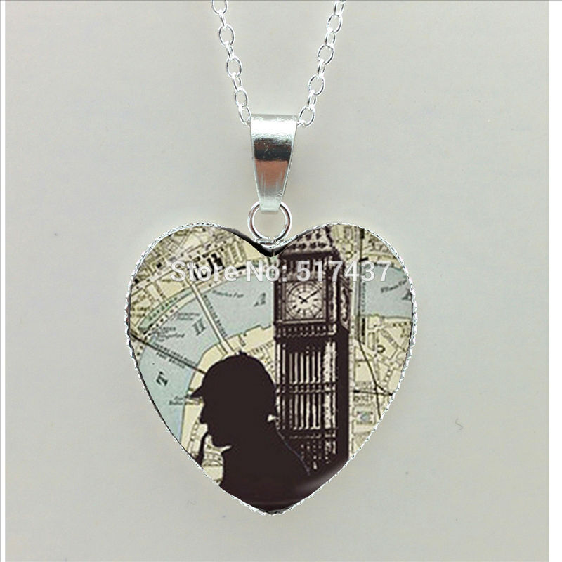 2016 New Sherlock Holmes Heart Necklace Science Fiction Pendant Jewelry Silver Heart Shaped Necklaces(China (Mainland))