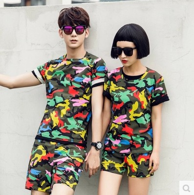 2015 Summer Style Korean Fashion Casual Short Sleeve Camouflage T Shirt and Shorts Set Women Men Matching Couple Clothes Outfits(China (Mainland))