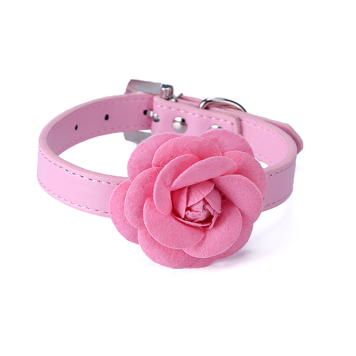 5 color Flower Cat Dog Collar Necklace PU Leather Dog Pet Puppy Collars Pink Red Purple Blue Rose Neck Strap Free Shipping(China (Mainland))