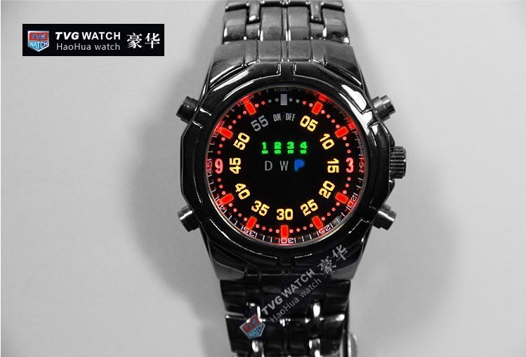 Best gift TVG deluxe stainless steel cold unique individuality color LED binary 30 m waterproof sports watch - Young fashion personality store