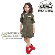 Carnival Children Kid Cool Girls Pilot Military Air Force Captain Green Cosplay Costume Halloween Role-Play Clothes Fancy Dress