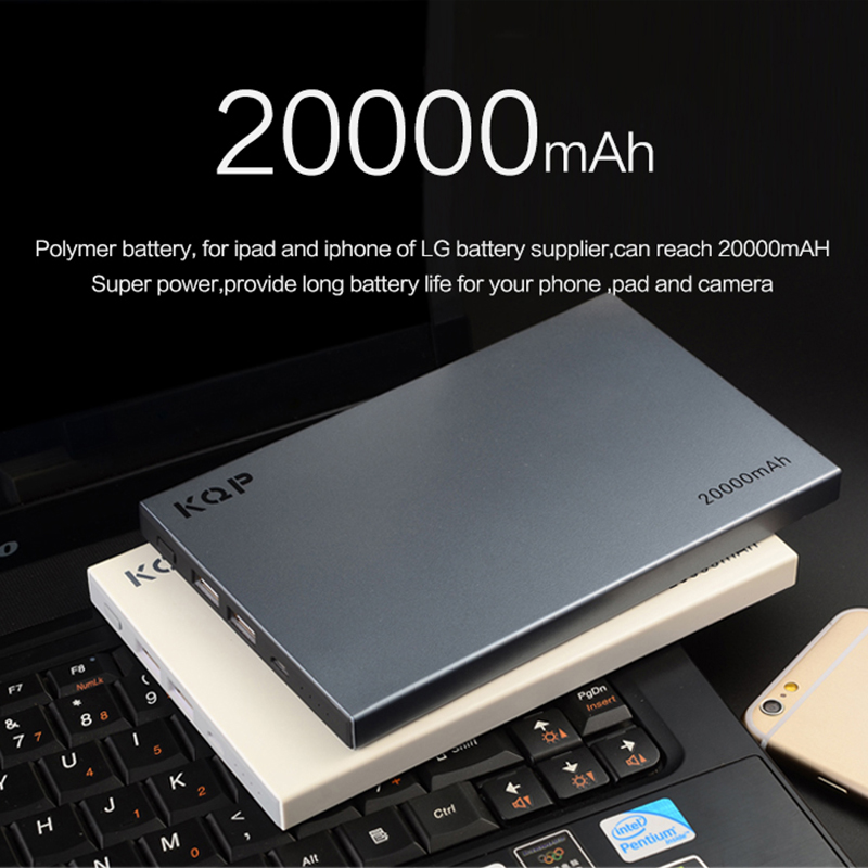 KQP 20000mAh External Battery Pack Quick Charge 2.0 Dual USB Output Mobile Portable Mobile Power Bank Support