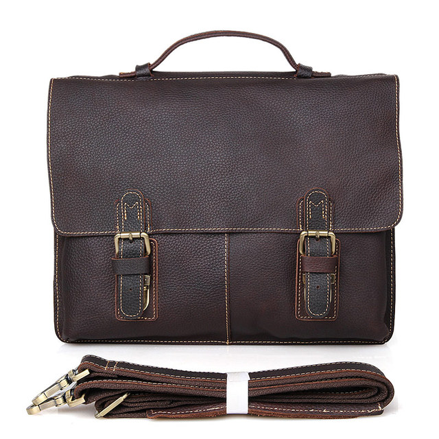 High Quality Vintage Genuine Leather JMD Men Briefcase Portfolios Office Bags Business Bag Messenger Bag #7090R