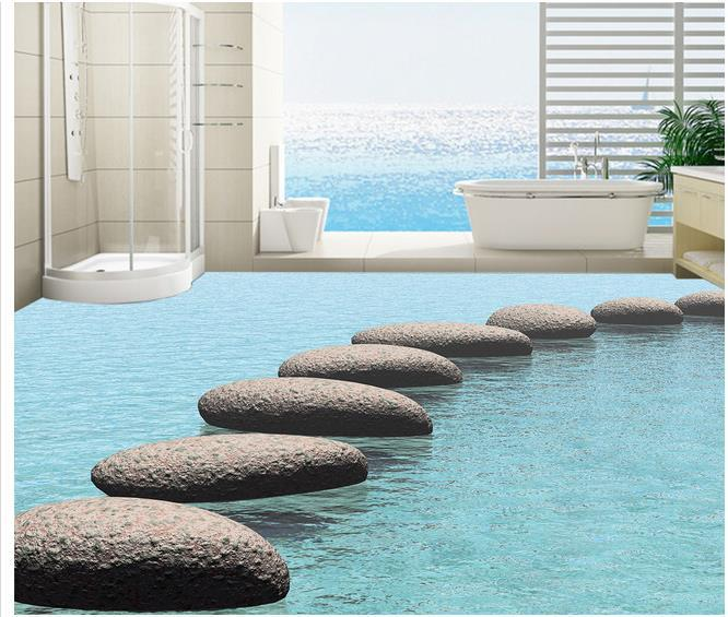 Custom photo floor wallpaper 3d stereoscopic water stone for Floor 3d wallpaper