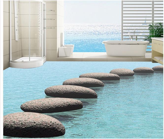 Custom photo floor wallpaper 3d stereoscopic water stone for Wallpaper pvc 3d