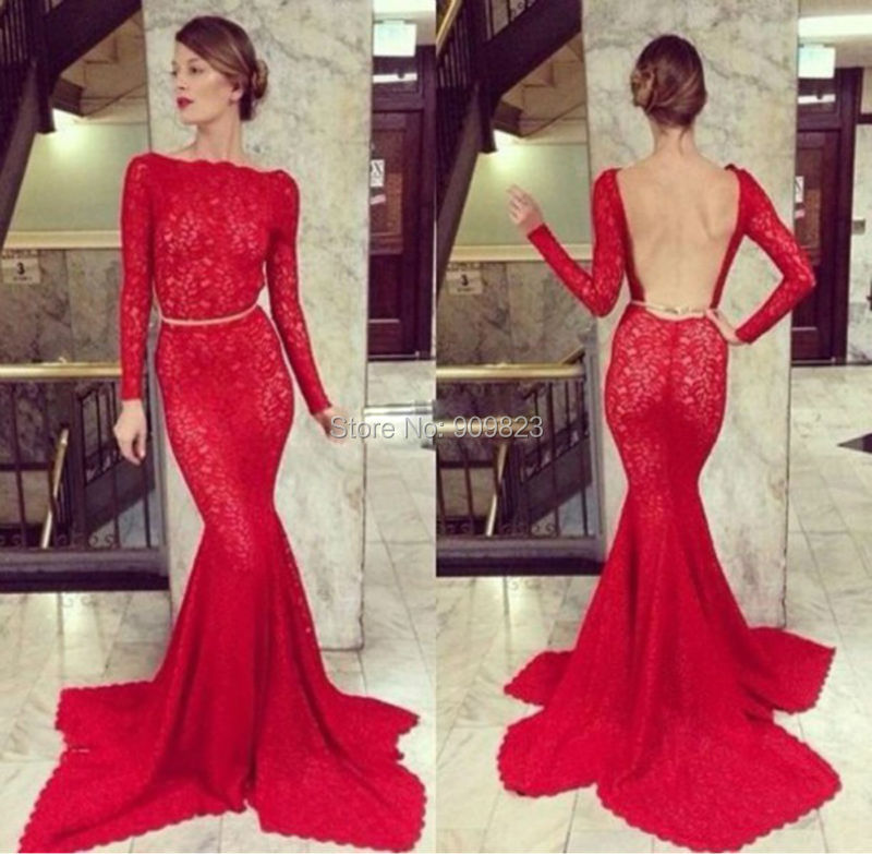 Sexy Lace Long Prom Dress 2016 Long Sleeves Backless ...