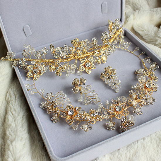 free shipping 3Sets for bridal Flower with Crystal   bridal hair accessories earring  necklace Zinc Alloy Wedding Jewelry Sets<br><br>Aliexpress
