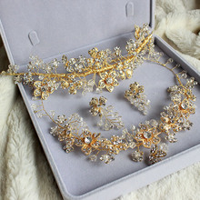 free shipping 3Sets for bridal Flower with Crystal bridal hair accessories earring necklace Zinc Alloy Wedding Jewelry Sets(China (Mainland))